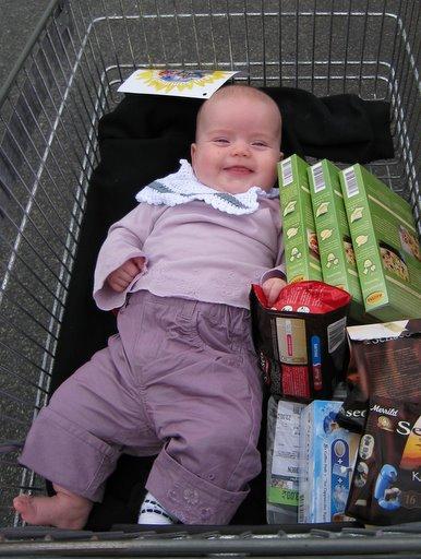 Ellen i indkøbsvogn