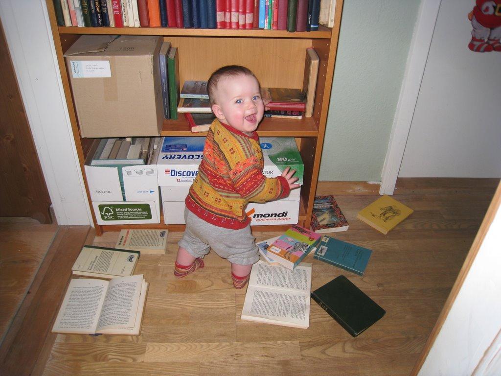 Ellen og bøgerne.